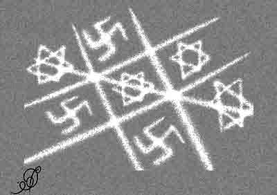 Image result for STAR OF DAVID AS NAZI LOGO CARTOON